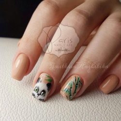 Kid nails with pattern photo
