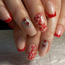 New Year's nails by a red dress photo
