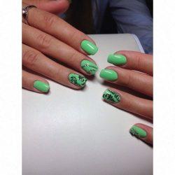 Bright manicure on short nails photo