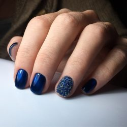 Blue gel nail polish photo