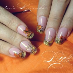 Autumn nails with a pattern photo