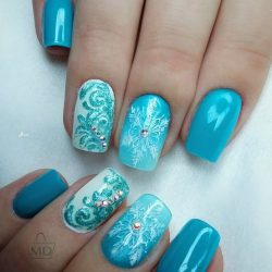 Short blue nails photo