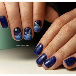 Blue glitter nails photo