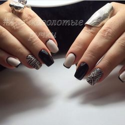 Beige and black nail designs photo