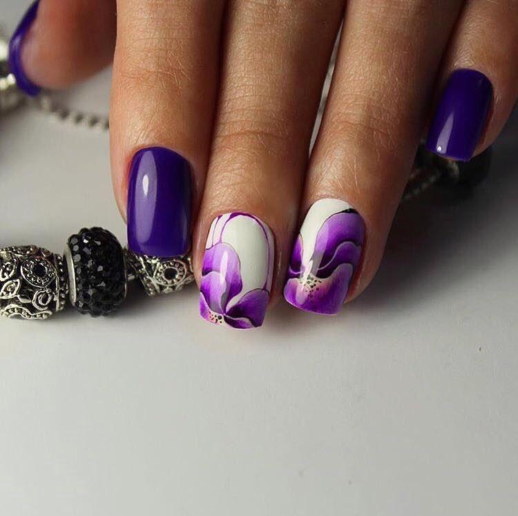Фиолетовый маникюр на короткие ногти дизайн 2017-2018