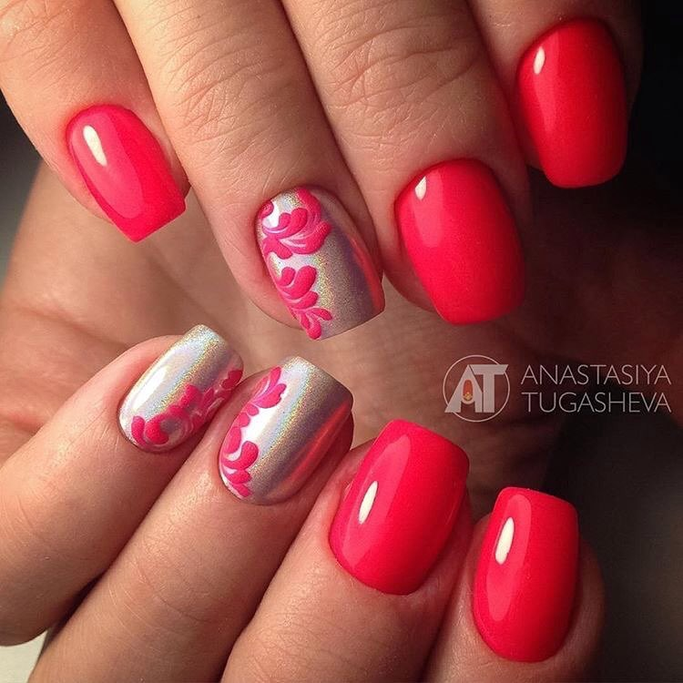 Red and silver nails - The Best Images | BestArtNails.com