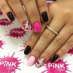 Pink nails with rhinestones photo