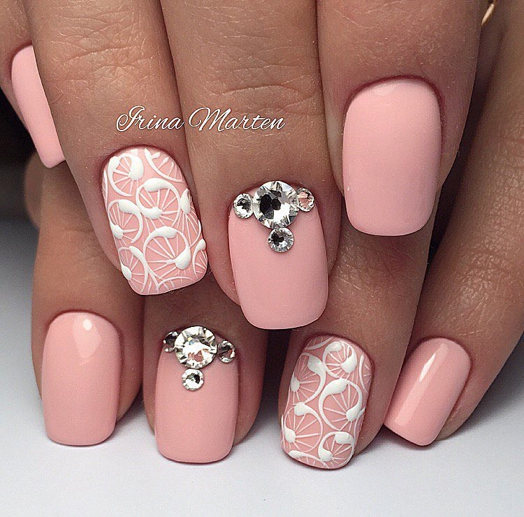 Pink nails with stones - The Best Images | BestArtNails.com