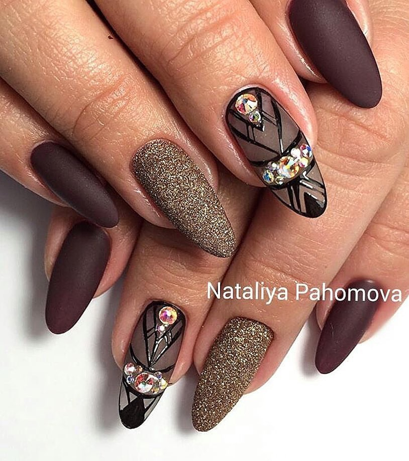 Brown matte nails - The Best Images | BestArtNails.com