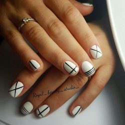Black and white short nail art photo