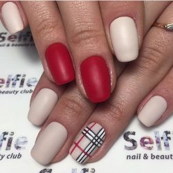 Matte red nails photo