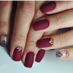 Beautiful maroon nails photo