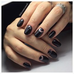 Black lacquer nails photo