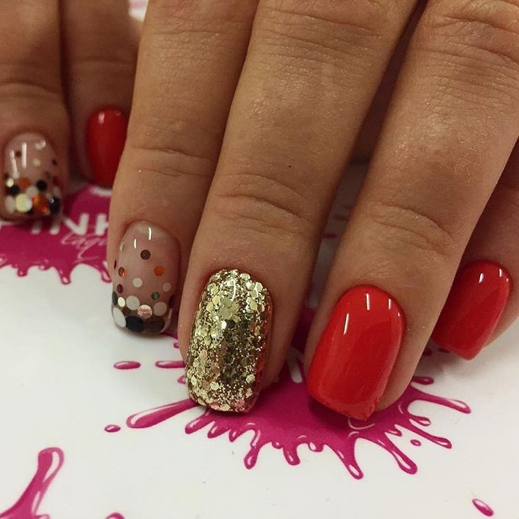 Nails with golden glitter