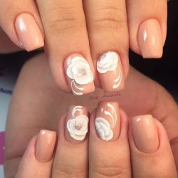 Beige nails by gel polish photo