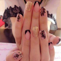 Dark french manicure photo