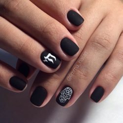 Ideas of black matte nails photo