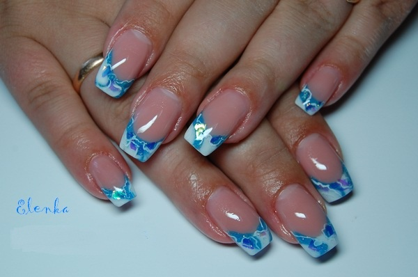 Blue and white french nails