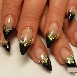 Black nail polish with sparkles photo