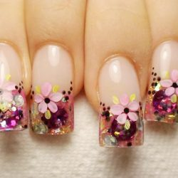 French manicure with flowers photo