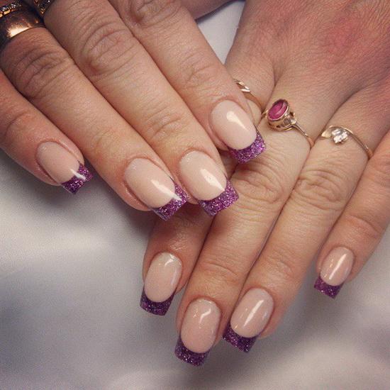 Glitter French Manicure Photo Nail Art 3048