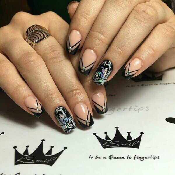 French manicure with pattern