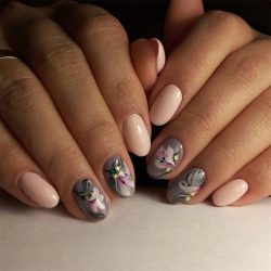 Nails with flower print photo