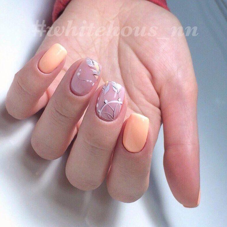 Painted orange nails