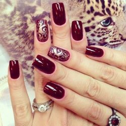 Beautiful maroon nails photo