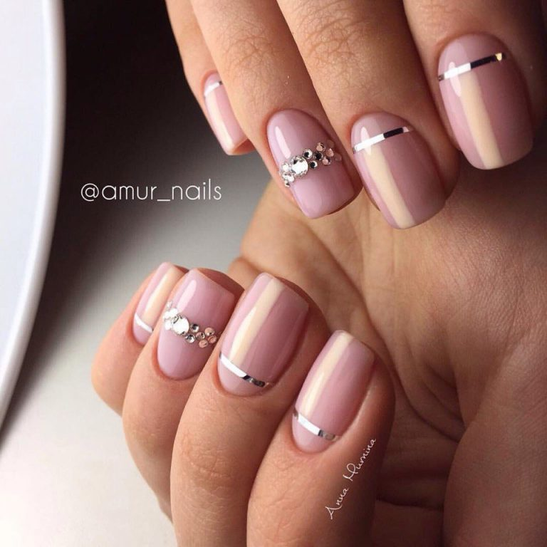 Nails with rhinestones