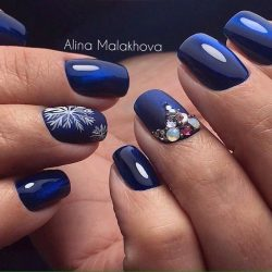 Blue nails with rhinestones photo