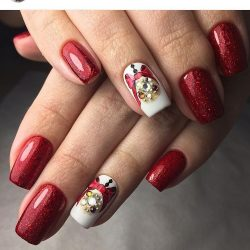 Red nail sequins photo