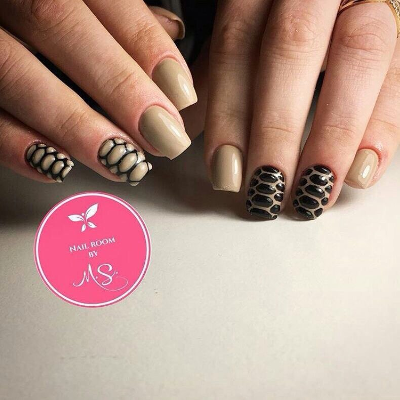 Beige and black nail designs - The Best Images | BestArtNails.com