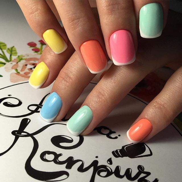 Colorful gel polish nails