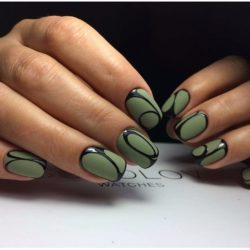 Green matte nails photo