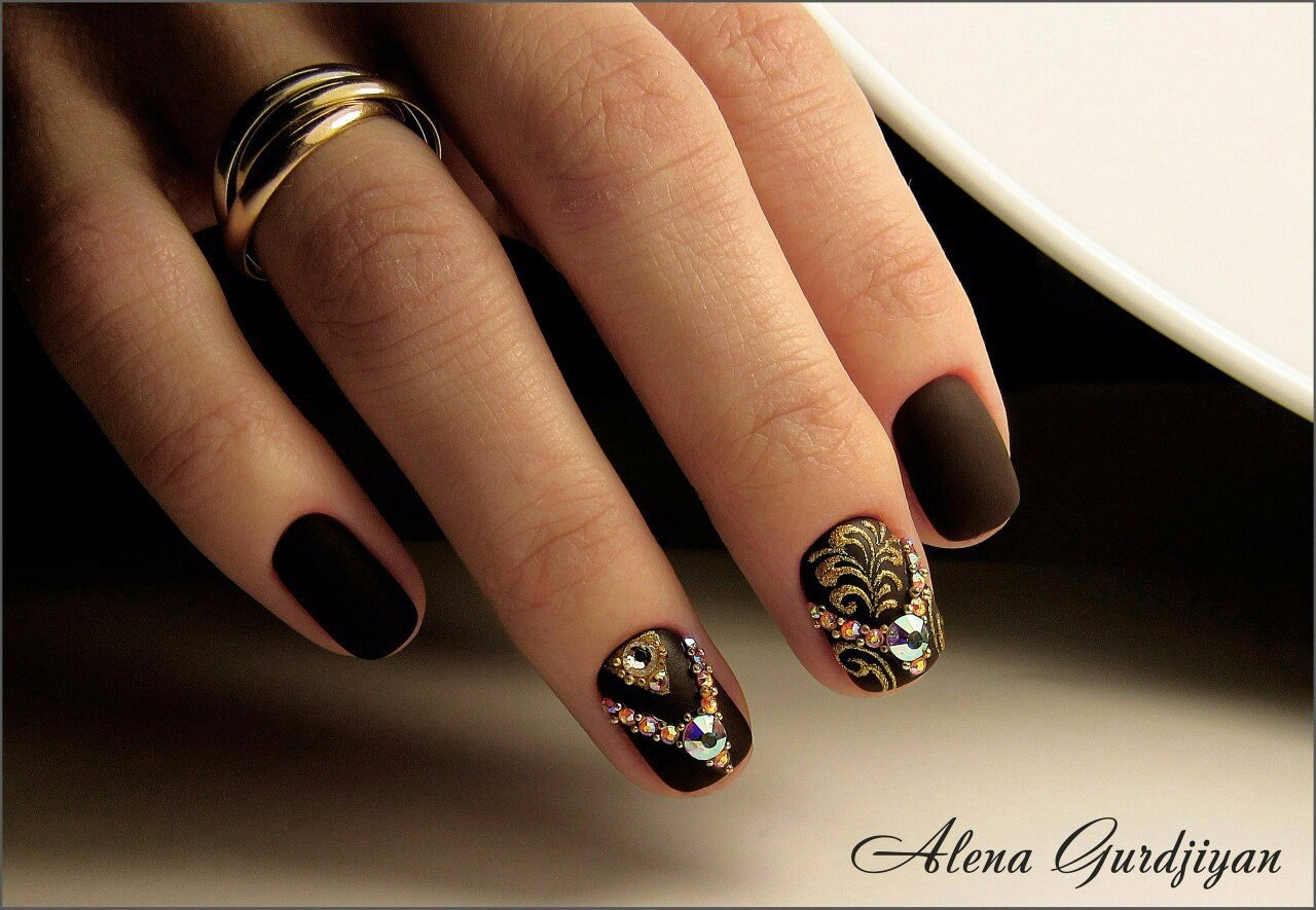 Dark brown nails - The Best Images | BestArtNails.com