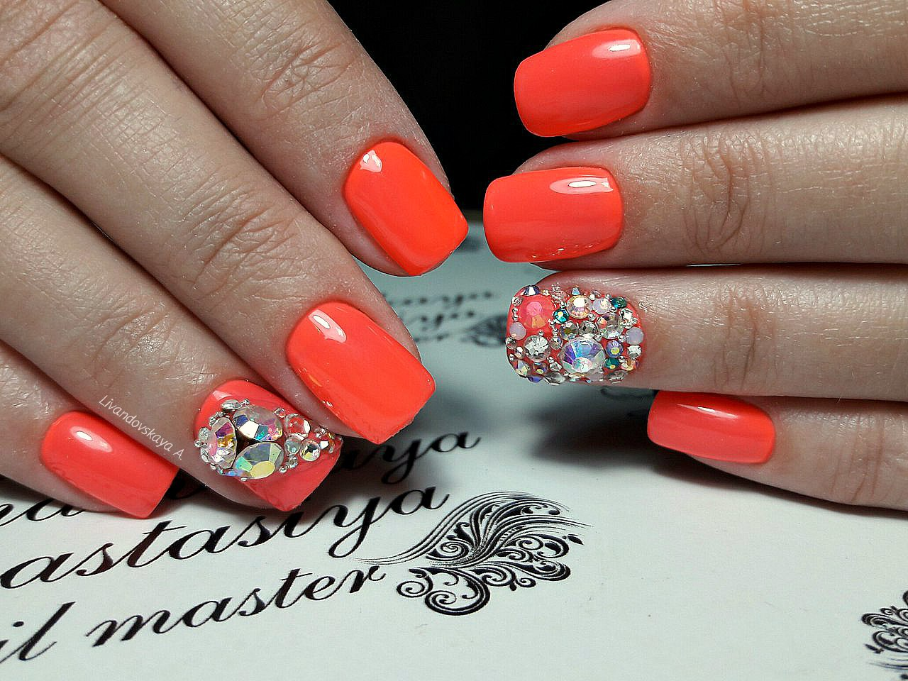 Beautiful orange nails