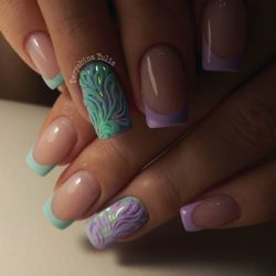 Multi-colored french manicure photo