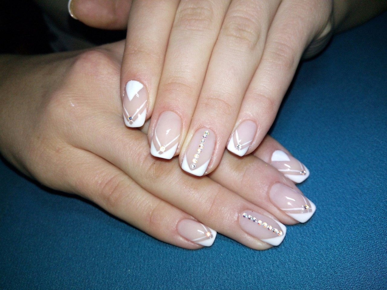 White rhinestone nail art - The Best Images | BestArtNails.com