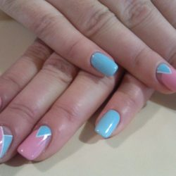Bright manicure on short nails photo