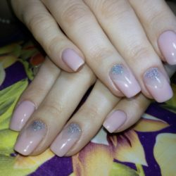 Beige nails with glitter photo