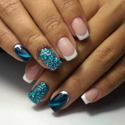 Half moonnails with rhinestones photo