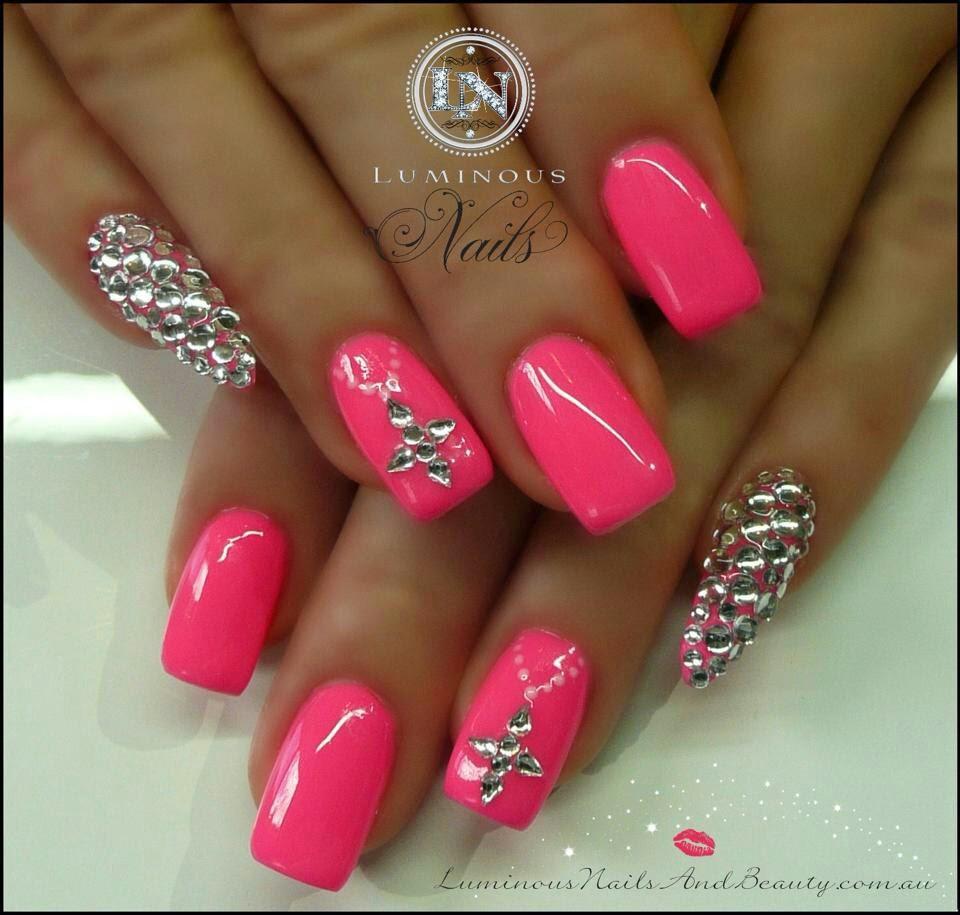 Festive pink nails