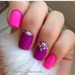Pink and purple nails photo