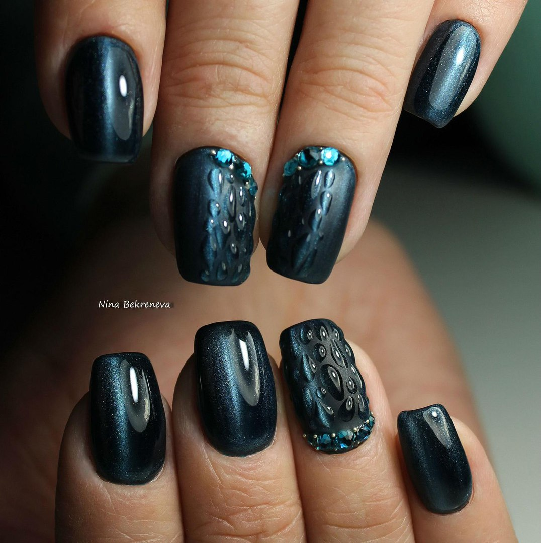 Blue Cat Eye Nails Photo
