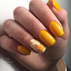 Autumn nails with leaves photo