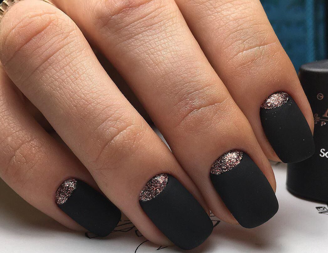 Matte black nails - The Best Images | BestArtNails.com