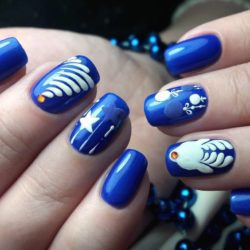 Blue and white nails photo