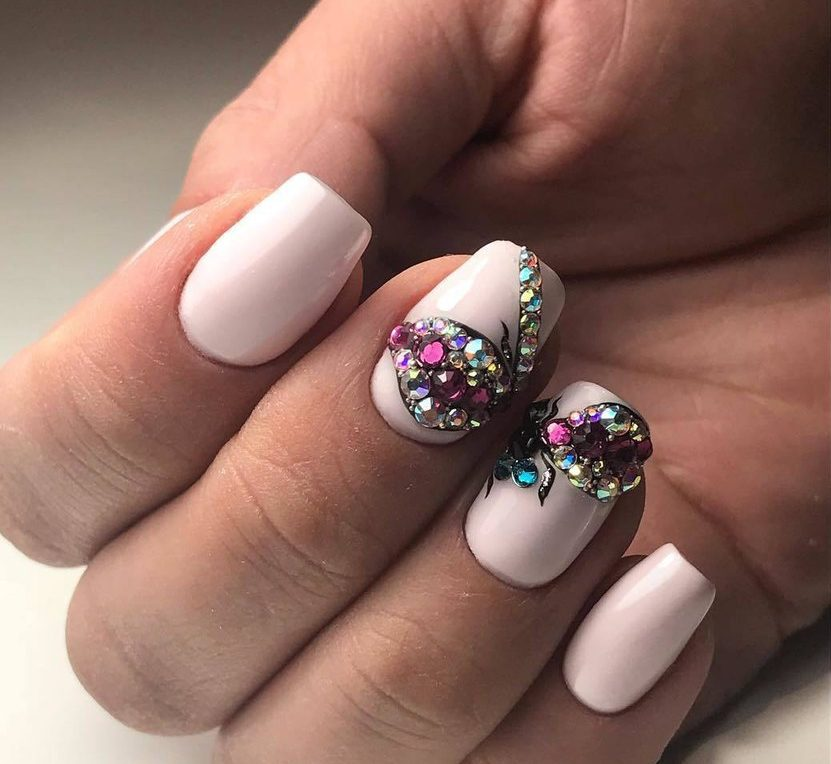 Pink Nails With Rhinestones The Best Images Bestartnails
