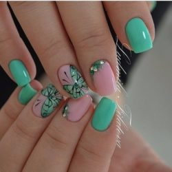 Pink and lime green nails photo